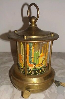 Antique Chase Chicago Lighted 1934 Century of Progress Brass Chgo Skyline Light