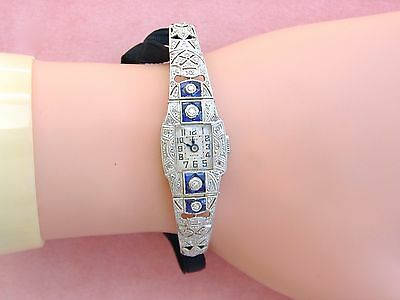 Antique Art Deco Damond Sapphire Swiss Movement Cocktail Watch Wristwatch 1930