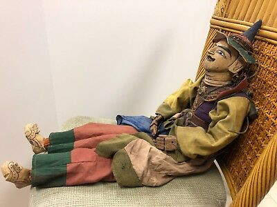 """Antique Burmese Wooden Hand Crafted """"Yoke thé"""" 30"""" Male Marionette Puppet"""