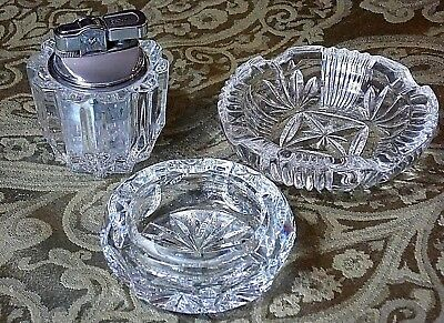 Vintage Crystal Table Lighter & Ashtrays-Glass Cigarette-3 piece-Working