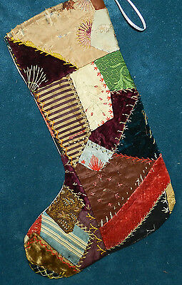 Awesome Antique Vintage Crazy Quilt Christmas Stocking! Cutter Quilt Cq20