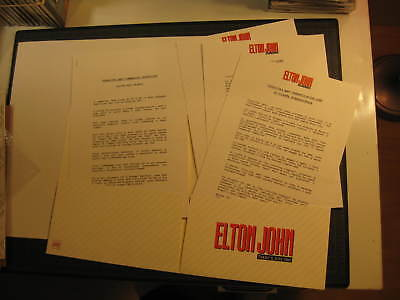 Elton John Italian press kit 1992 the One Tour Coca Cola