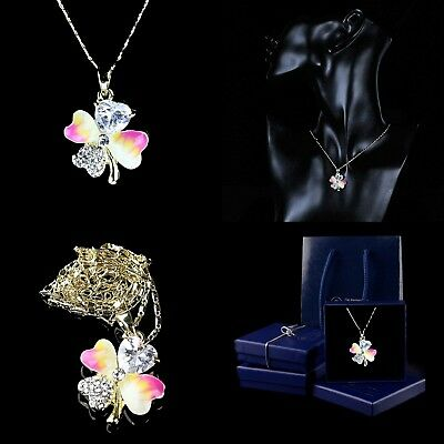 Gold Plated Jewellery Necklace Boxed Crystal Lucky Four-Leaf Clover Pendant