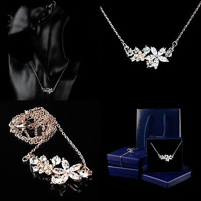 Gold Plated Woman's Jewellery Necklace Diamond Crystal Flowers Pendant Gift Box