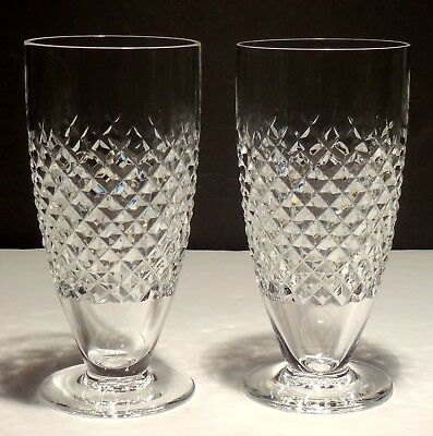 2 Waterford Crystal Alana Footed Iced Tea Beverage Glasses