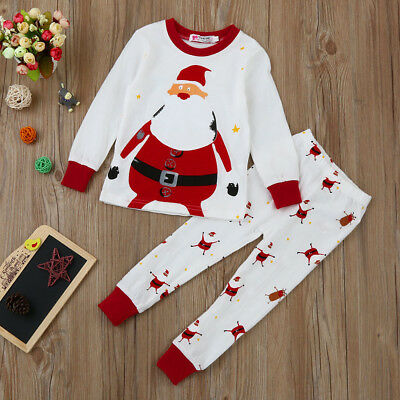 Newborn Infant Baby Boy Girls Tops+Pants Christmas Home Outfits Pajamas Set CW