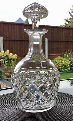 Webb Corbett Crystal Cut Glass Decanter, With Cone Shaped Starburst Stopper