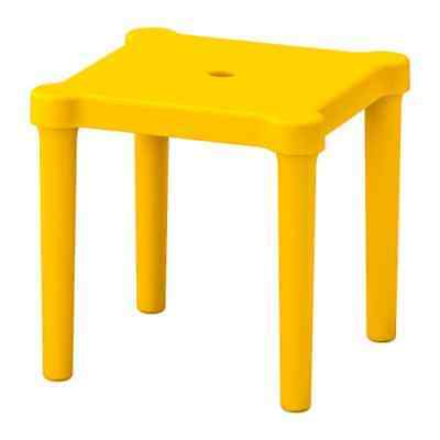 2 X  IKEA UTTER Childrens Table Stool Chair  Kids Plastic Toddler Yellow UK-B786