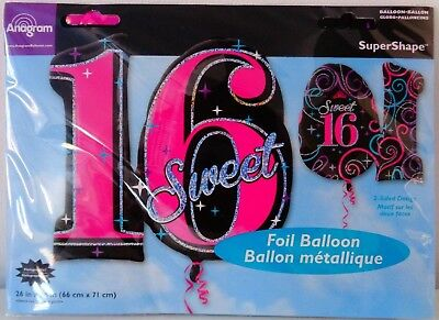 Giant Sweet 16th Birthday Foil Number Helium Balloon Girls Party Decoration