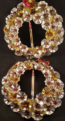 """Pair of 10"""" Vintage Metallic Foil Wreaths with Candles, Very Good Condition!!"""