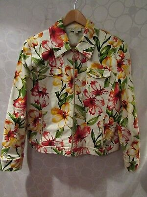 ST. JOHN SPORT by Marie Gray Floral Pink Crystals Full-Zip Jacket Size L