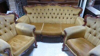 *clearance* 35% Off! Antique Queen Anne Style Mahogany Mustard Sofa Armchair Set