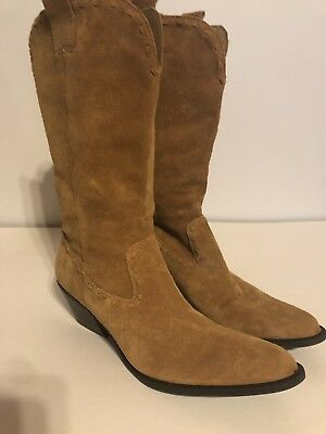 a12e1d14bd2 Womens Gianni Bini Western cowboy boots brown genuine suede leather size 7  med