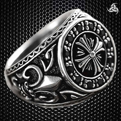 Mens Iron Cross Ring Sterling Silver Medieval Knights Templar Jewelry Size 9.25
