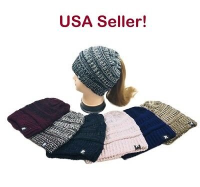 Womens Girls Cable Knit PONYTAIL Bun Beanie Variegated Winter Hat
