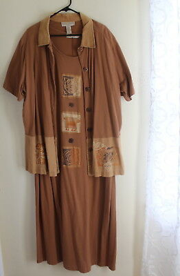 SWEET JESSICA 2X Art-to-Wear Brown Hand-Painted Funky Lagenlook Jacket Dress