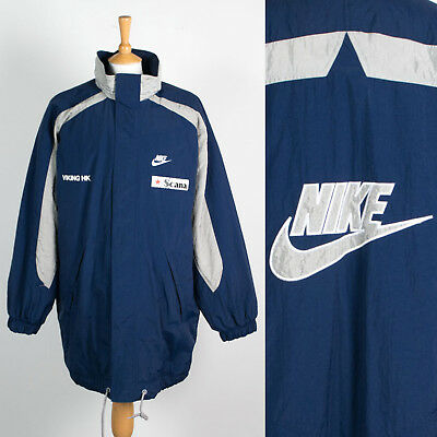 Mens Vintage Nike 90's Coat Jacket Thick Warm Football Manager Style Xl