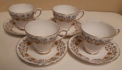 SET OF 4 x ROYAL SUTHERLAND FINE BONE CHINA TEA CUPS AND SAUCERS