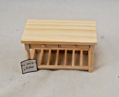 Table - Kitchen Work - dollhouse miniature 1/12 scale furniture unfinished T4671