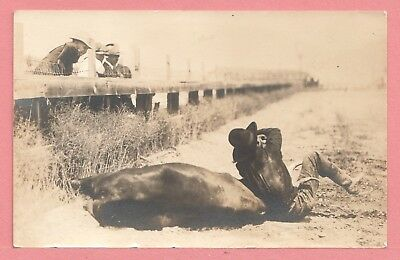 Dr Who Vintage Azo Rppc Steer Wrestler Real Photo Postcard 1 11290