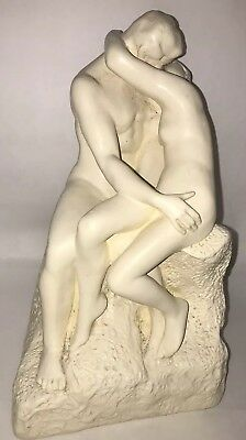 Vintage Nude Man and Woman Kissing Sculpture Statue The Kiss White Romantic