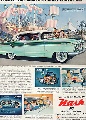 1956 Nash Car Full Page Magazine Ad-In Plastic Sleeve-Vintage