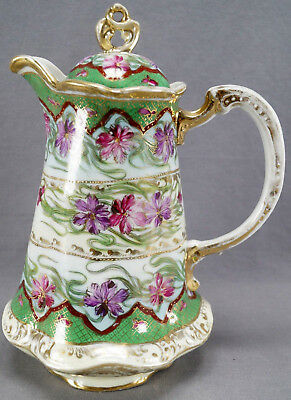 Nippon Hand Painted Pink & Purple Floral Green & Gold Chocolate Pot 1891 - 1921