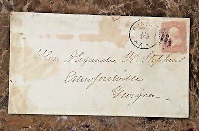 Original Postal Cover That Was Used By V.p. Of Confederate States Of America