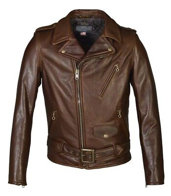 SCHOTT NYC Men's Brown Perfecto 519 Waxy Natural Cowhide Leather Motorcycle