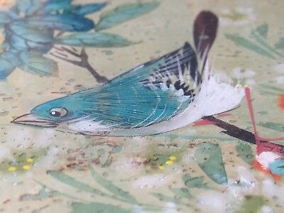 Pair Vintage Chinese Original Paintings Birds & Blossom Branches Stamped Signed