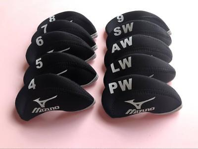 10x Golf Club Protector Covers for Mizuno Iron Headcovers 4-LW Black&Black Sets