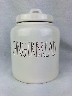 Rae Dunn 2018 Christmas GINGERBREAD CANISTER Cookie Jar Red Letters New
