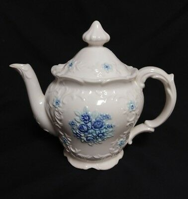 Vintage Inarco Teapot Embossed Blue Bouquet Flowers Japan
