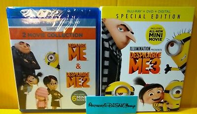 DESPICABLE ME 1 2 3 Movie Collection Trilogy BLU-RAY + DVD LOT SET AUTHENTIC NEW