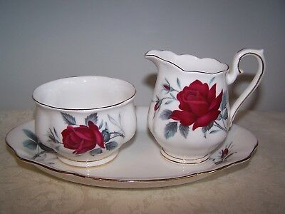 Royal Albert Sweet Romance  After Dinner Cream And Sugar And Regal Tray Set