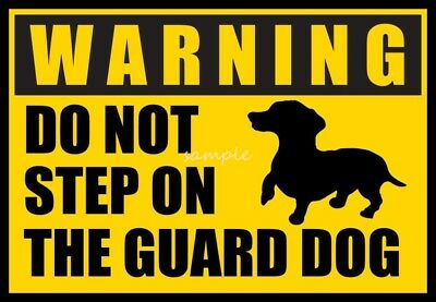DACHSHUND Warning Do Not Step on Guard Dog Large 4 x 6 inches