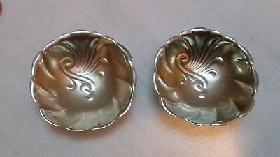 Two Antique Sterling Silver Salt Dishes Towle Engraved 'Mott 1894' Shell Design