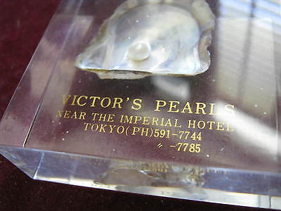c. 1970s Lucite Paper Weight VICTOR'S PEARLS TOKYO, Near Imperial Hotel, Akoya
