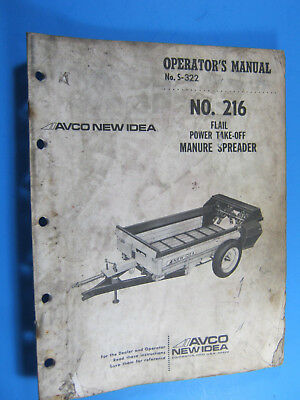 new idea 216 flail pto manure spreader owner operator parts manual