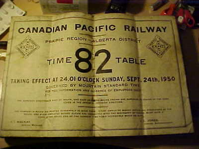 Canadian Pacific Railway Employees Timetable 82 - Alberta District