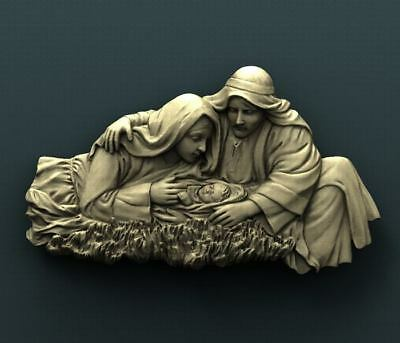 "3D STL Model for CNC Router Aspire Artcam - ""Little Jesus Birth"""