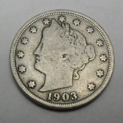 "1903 P Liberty Head ""v"" Nickel *f - Fine*  *free Shipping*"
