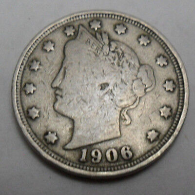 "1906 P Liberty Head ""v"" Nickel *f - Fine*  *free Shipping*"