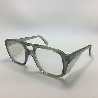 Vintage Bouton Z-87 Safety Glasses With Sides Gray Aviator Clear Lens 52mm 5 1/2