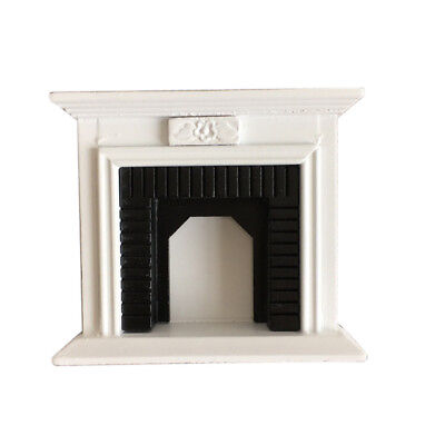 1:12 Dollhouse Miniature Furniture Room Wooden Vintage Black White Fireplace US