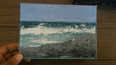 Small rocky seascape with Wave original painting