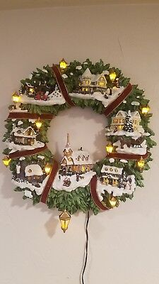 Thomas Kinkade Christmas Village Wreath Hamilton Collection 2005