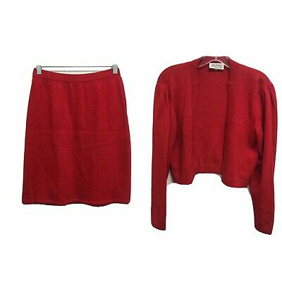St John Evening By Marie Gray Knit Red Blazer And Skirt Suit Size 4
