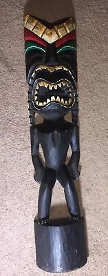 """Tiki Wood Hand Carved Statue 31"""" Tall"""