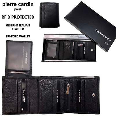 Pierre Cardin RFID Men's Wallet Tri-Fold Genuine Italian Leather - Black